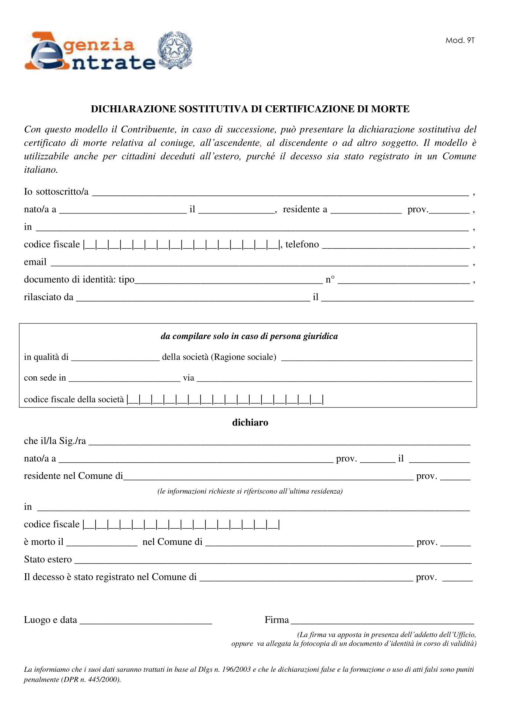 Dichiarazione Sostitutiva di Certificazione di Morte